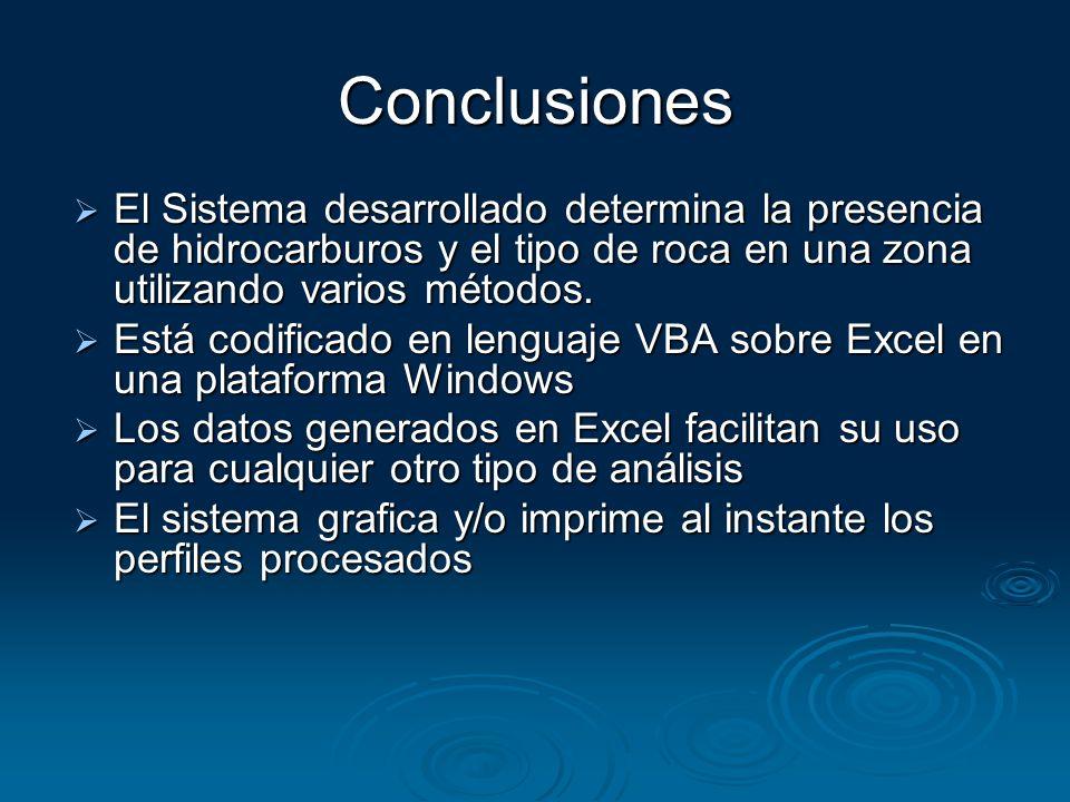 Conclusiones El Sistema desarrollado determina la presencia de hidrocarburos y el tipo de roca en una zona utilizando varios métodos. El Sistema desar