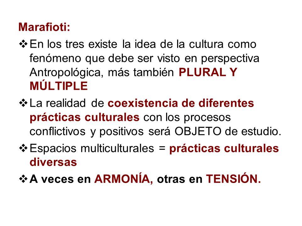Marafioti: En los tres existe la idea de la cultura como fenómeno que debe ser visto en perspectiva Antropológica, más también PLURAL Y MÚLTIPLE La re
