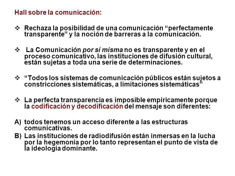 Hall sobre la comunicación: Rechaza la posibilidad de una comunicación perfectamente transparente y la noción de barreras a la comunicación. La Comuni