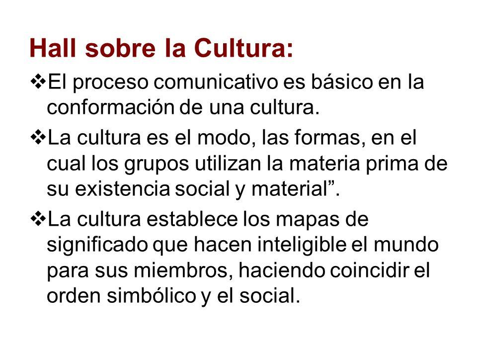 Hall sobre la Cultura: El proceso comunicativo es básico en la conformación de una cultura. La cultura es el modo, las formas, en el cual los grupos u