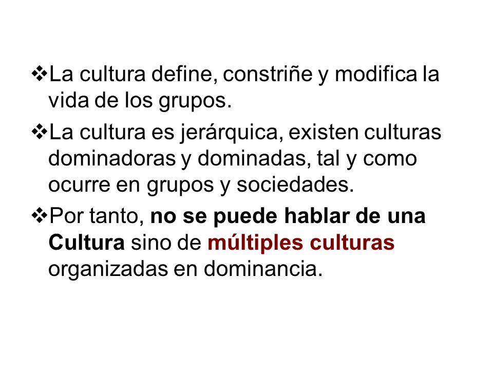 La cultura define, constriñe y modifica la vida de los grupos. La cultura es jerárquica, existen culturas dominadoras y dominadas, tal y como ocurre e