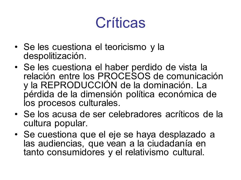 Críticas Se les cuestiona el teoricismo y la despolitización. Se les cuestiona el haber perdido de vista la relación entre los PROCESOS de comunicació
