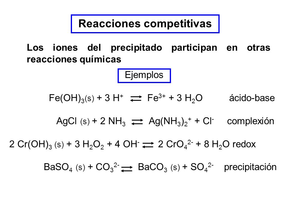 Reacciones competitivas Los iones del precipitado participan en otras reacciones químicas Ejemplos Fe(OH) 3 (s) + 3 H + Fe 3+ + 3 H 2 O ácido-base AgCl (s) + 2 NH 3 Ag(NH 3 ) 2 + + Cl - complexión 2 Cr(OH) 3 (s) + 3 H 2 O 2 + 4 OH - 2 CrO 4 2- + 8 H 2 O redox BaSO 4 (s) + CO 3 2- BaCO 3 (s) + SO 4 2- precipitación
