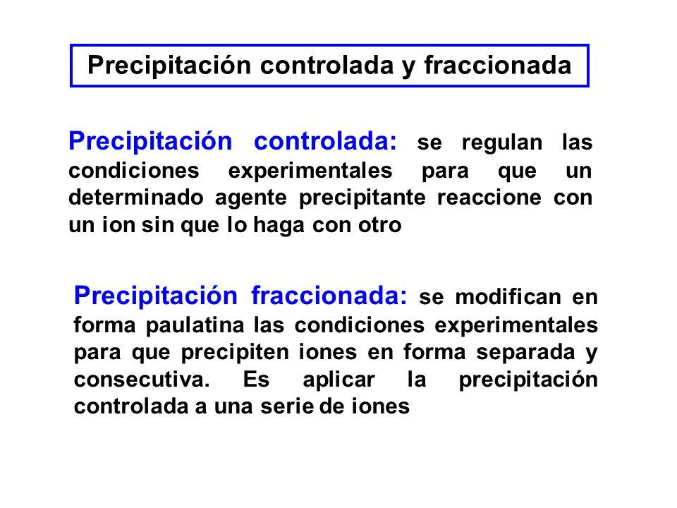 Precipitación controlada y fraccionada Precipitación controlada: se regulan las condiciones experimentales para que un determinado agente precipitante reaccione con un ion sin que lo haga con otro Precipitación fraccionada: se modifican en forma paulatina las condiciones experimentales para que precipiten iones en forma separada y consecutiva.