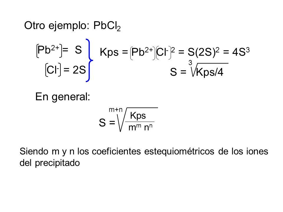 Otro ejemplo: PbCl 2 Pb 2+ = S Cl - = 2S Kps = Pb 2+ Cl - 2 = S(2S) 2 = 4S 3 S = Kps/4 3 En general: S = m+n m m n n Kps Siendo m y n los coeficientes estequiométricos de los iones del precipitado