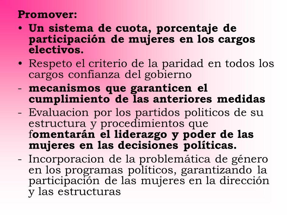 Promover: Un sistema de cuota, porcentaje de participación de mujeres en los cargos electivos. Respeto el criterio de la paridad en todos los cargos c