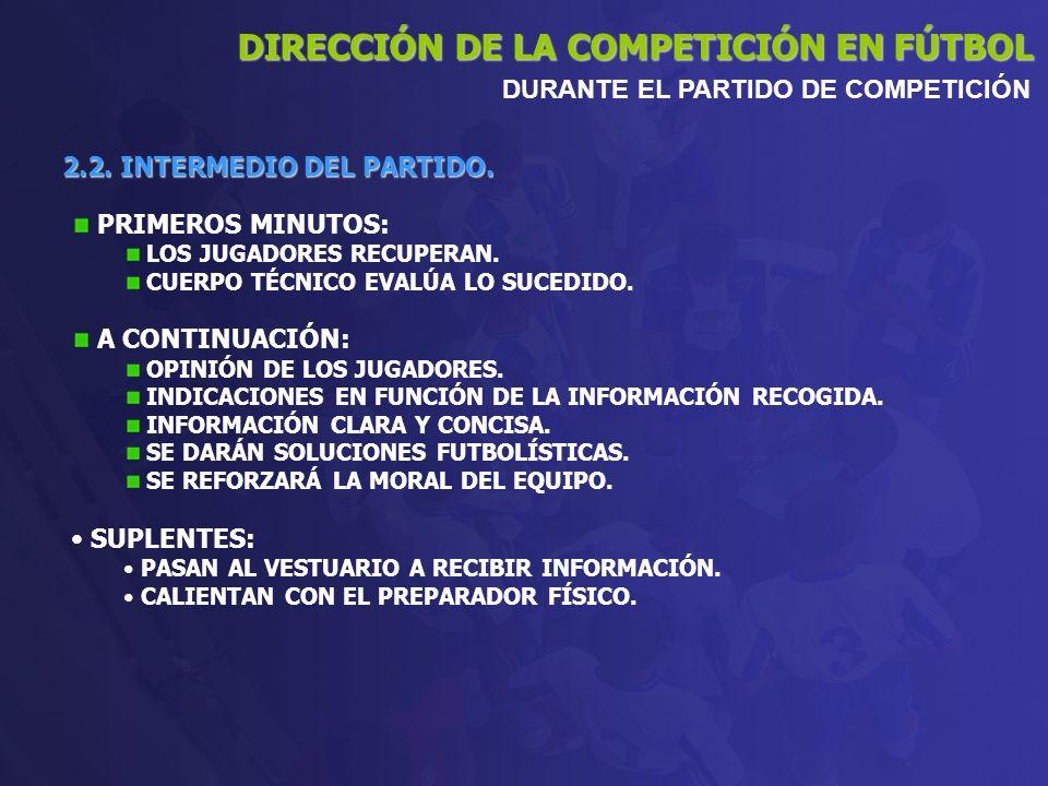 2.2. INTERMEDIO DEL PARTIDO. DIRECCIÓN DE LA COMPETICIÓN EN FÚTBOL DURANTE EL PARTIDO DE COMPETICIÓN PRIMEROS MINUTOS: LOS JUGADORES RECUPERAN. CUERPO