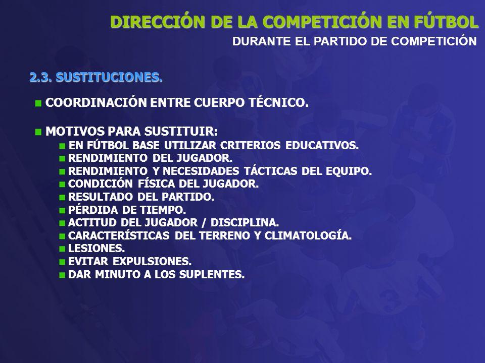2.3. SUSTITUCIONES. DIRECCIÓN DE LA COMPETICIÓN EN FÚTBOL DURANTE EL PARTIDO DE COMPETICIÓN COORDINACIÓN ENTRE CUERPO TÉCNICO. MOTIVOS PARA SUSTITUIR: