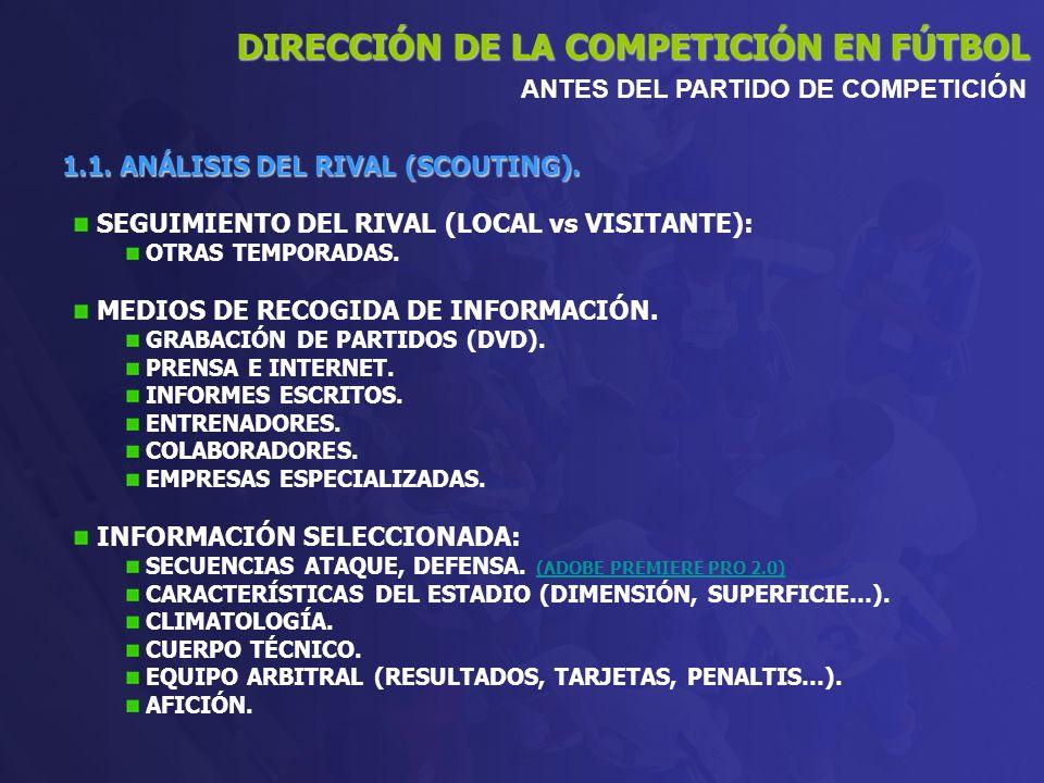 1.1. ANÁLISIS DEL RIVAL (SCOUTING). SEGUIMIENTO DEL RIVAL (LOCAL vs VISITANTE): OTRAS TEMPORADAS. MEDIOS DE RECOGIDA DE INFORMACIÓN. GRABACIÓN DE PART