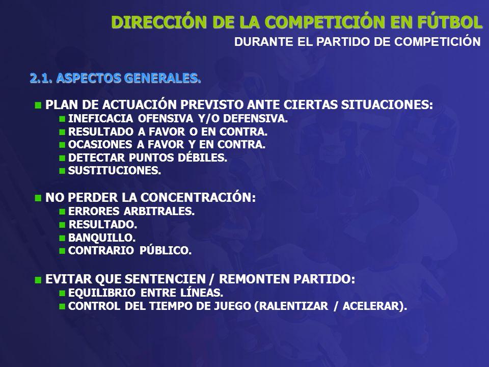 2.1. ASPECTOS GENERALES. DIRECCIÓN DE LA COMPETICIÓN EN FÚTBOL DURANTE EL PARTIDO DE COMPETICIÓN PLAN DE ACTUACIÓN PREVISTO ANTE CIERTAS SITUACIONES: