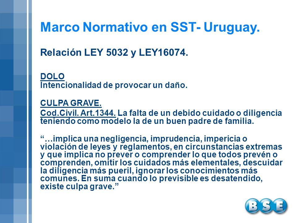 Marco Normativo en SST- Uruguay. DOLO Intencionalidad de provocar un daño. CULPA GRAVE. Cod.Civil. Art.1344. La falta de un debido cuidado o diligenci