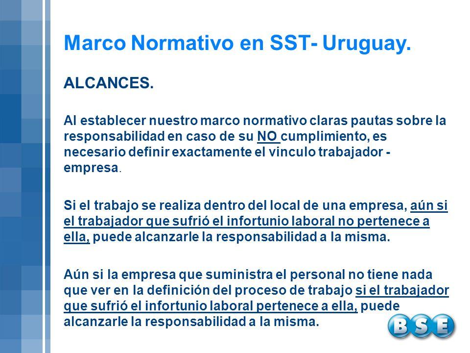 Marco Normativo en SST- Uruguay. Al establecer nuestro marco normativo claras pautas sobre la responsabilidad en caso de su NO cumplimiento, es necesa
