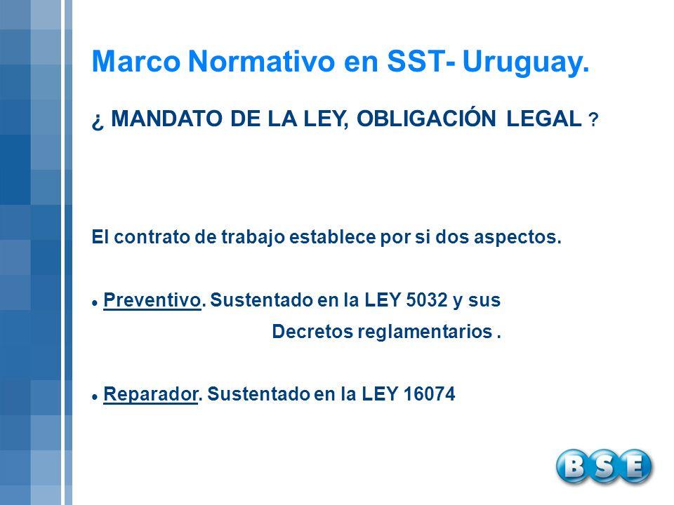 Marco Normativo en SST- Uruguay. El contrato de trabajo establece por si dos aspectos. Preventivo. Sustentado en la LEY 5032 y sus Decretos reglamenta