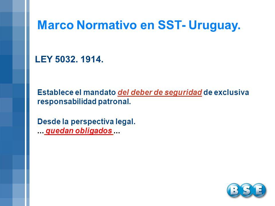Marco Normativo en SST- Uruguay. Establece el mandato del deber de seguridad de exclusiva responsabilidad patronal. Desde la perspectiva legal.... que