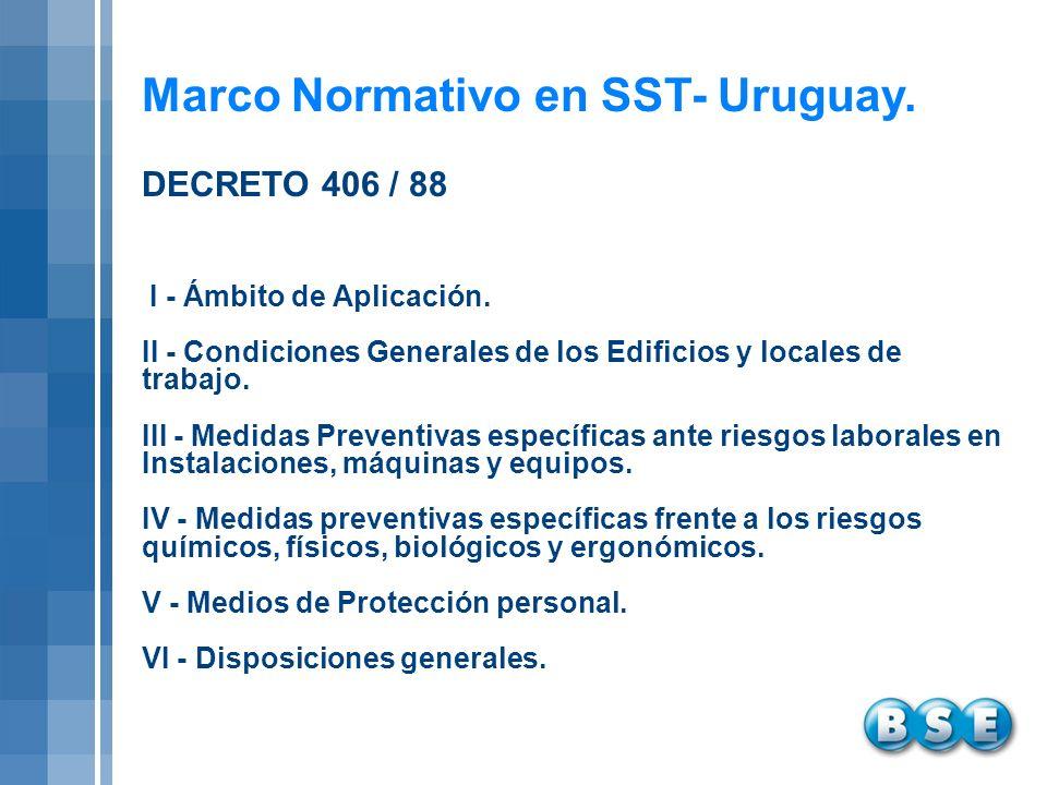 Marco Normativo en SST- Uruguay. I - Ámbito de Aplicación. II - Condiciones Generales de los Edificios y locales de trabajo. III - Medidas Preventivas