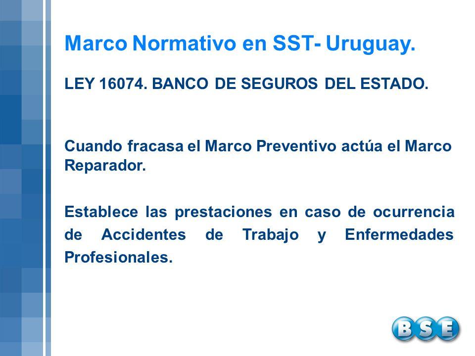 Marco Normativo en SST- Uruguay. Cuando fracasa el Marco Preventivo actúa el Marco Reparador. Establece las prestaciones en caso de ocurrencia de Acci