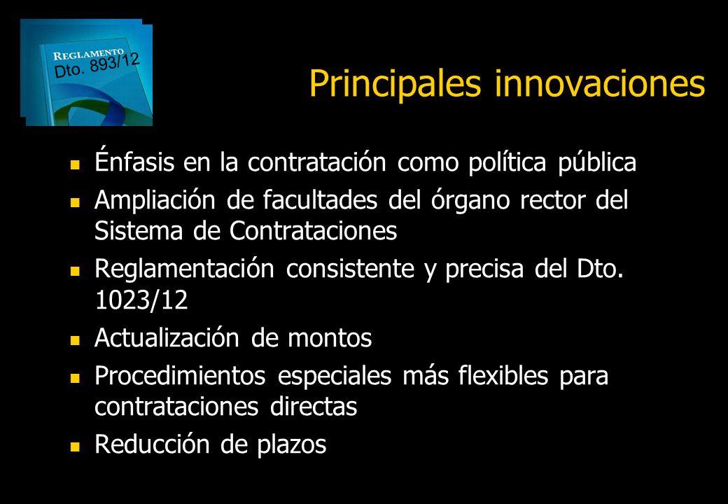 Principales innovaciones del reglamento del Régimen de Contrataciones de la Administración Nacional Decreto Nº 893/12 Dra. Luisa María Hynes lizziehyn