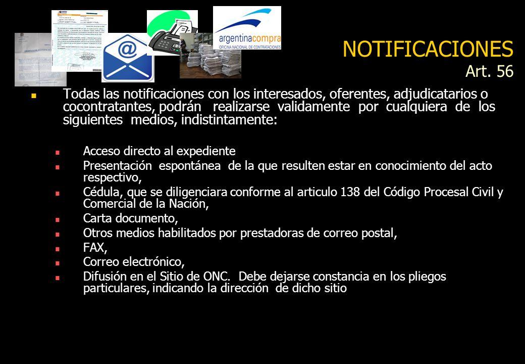 Transparencia Acceso y difusión de información Envió de información de todos los actos vinculados al procedimiento a la ONC (Art. 58) Envío a la ONC d