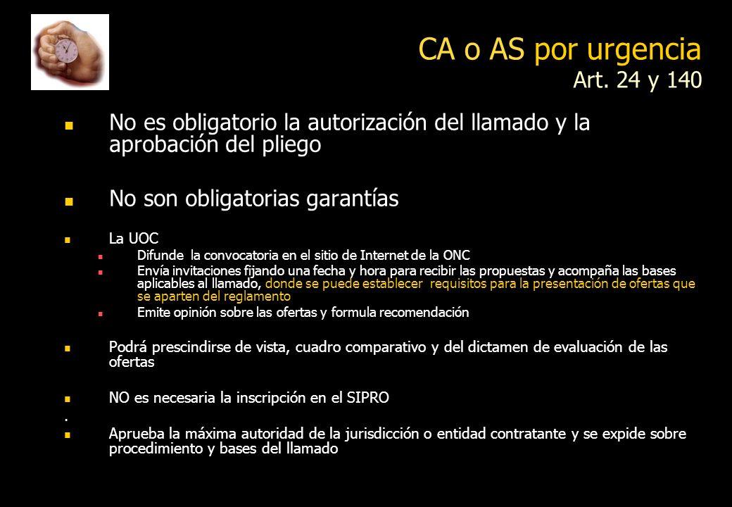 Urgencia o emergencia Art. 24 Urgencia objetiva acreditada que impida otro procedimiento Son razones de urgencia las necesidades apremiantes y objetiv