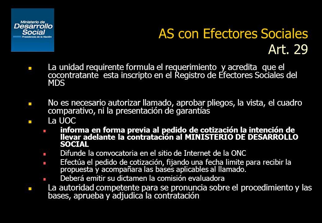 AS con Efectores Sociales Art. 29 Debe informarse previamente al MINISTERIO DE DESARROLLO SOCIAL El cocontratante deberá tratarse de una persona físic