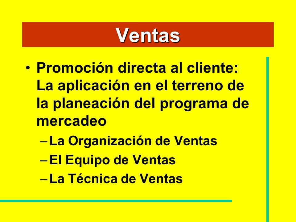 Ventas Promoción directa al cliente: La aplicación en el terreno de la planeación del programa de mercadeo –La Organización de Ventas –El Equipo de Ve