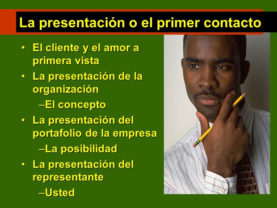 La presentación o el primer contacto El cliente y el amor a primera vistaEl cliente y el amor a primera vista La presentación de la organizaciónLa pre