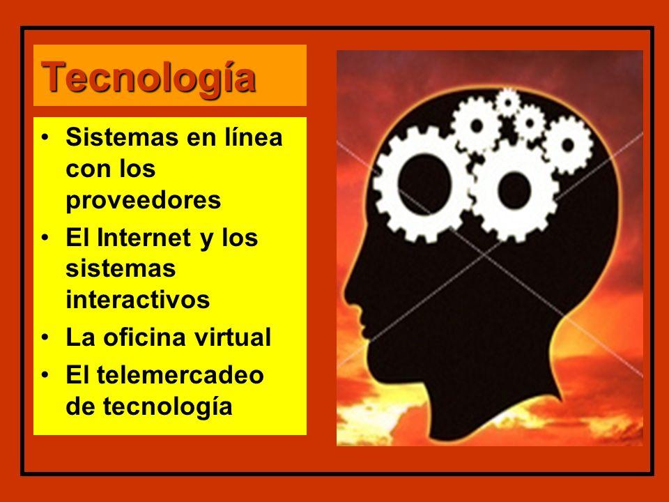 Tecnología Sistemas en línea con los proveedores El Internet y los sistemas interactivos La oficina virtual El telemercadeo de tecnología