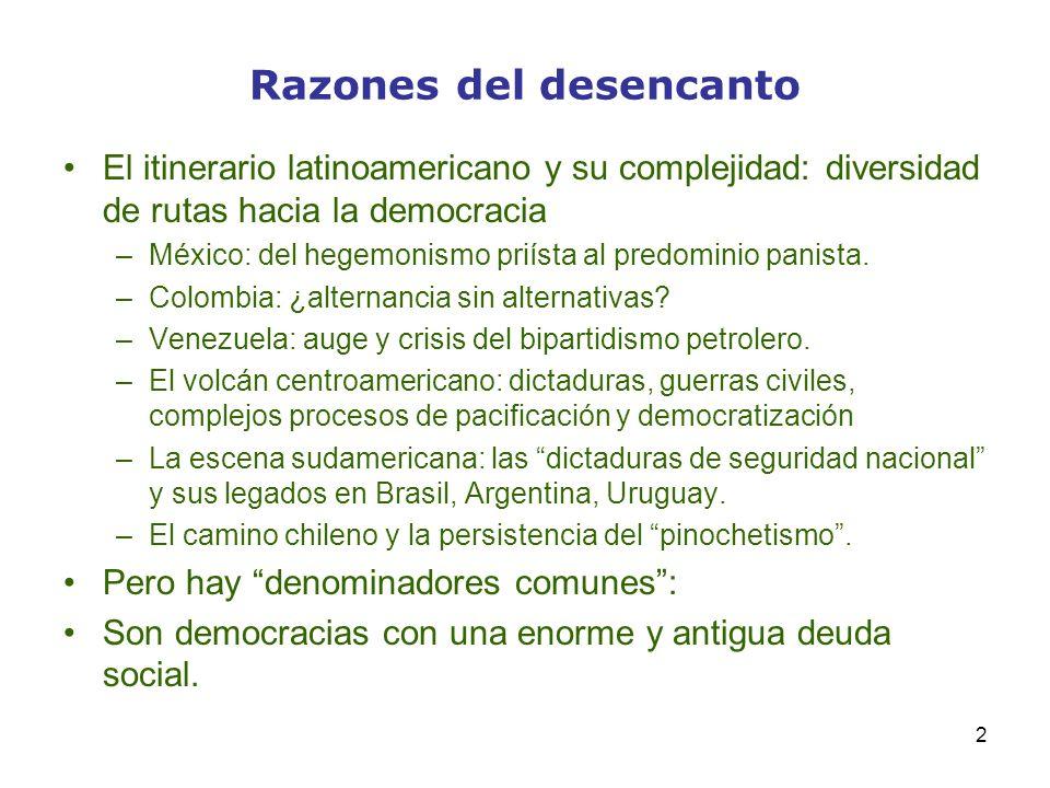 2 Razones del desencanto El itinerario latinoamericano y su complejidad: diversidad de rutas hacia la democracia –México: del hegemonismo priísta al p