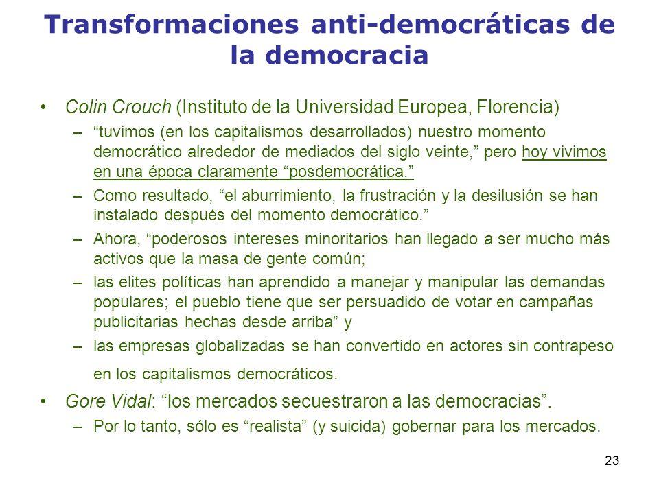 23 Transformaciones anti-democráticas de la democracia Colin Crouch (Instituto de la Universidad Europea, Florencia) –tuvimos (en los capitalismos des