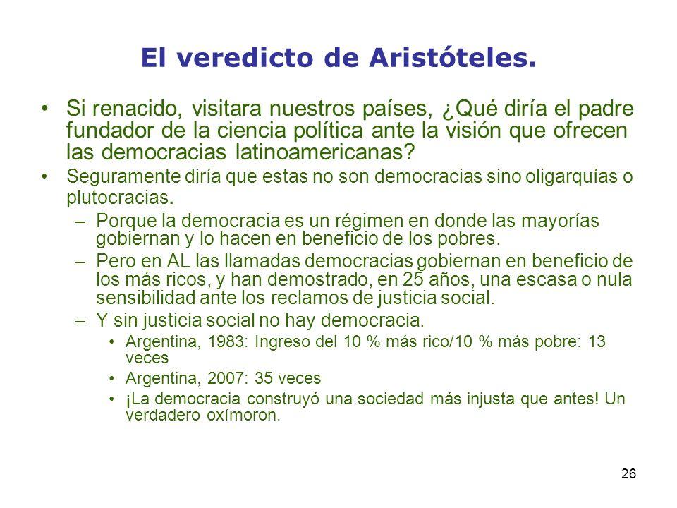 26 El veredicto de Aristóteles. Si renacido, visitara nuestros países, ¿Qué diría el padre fundador de la ciencia política ante la visión que ofrecen