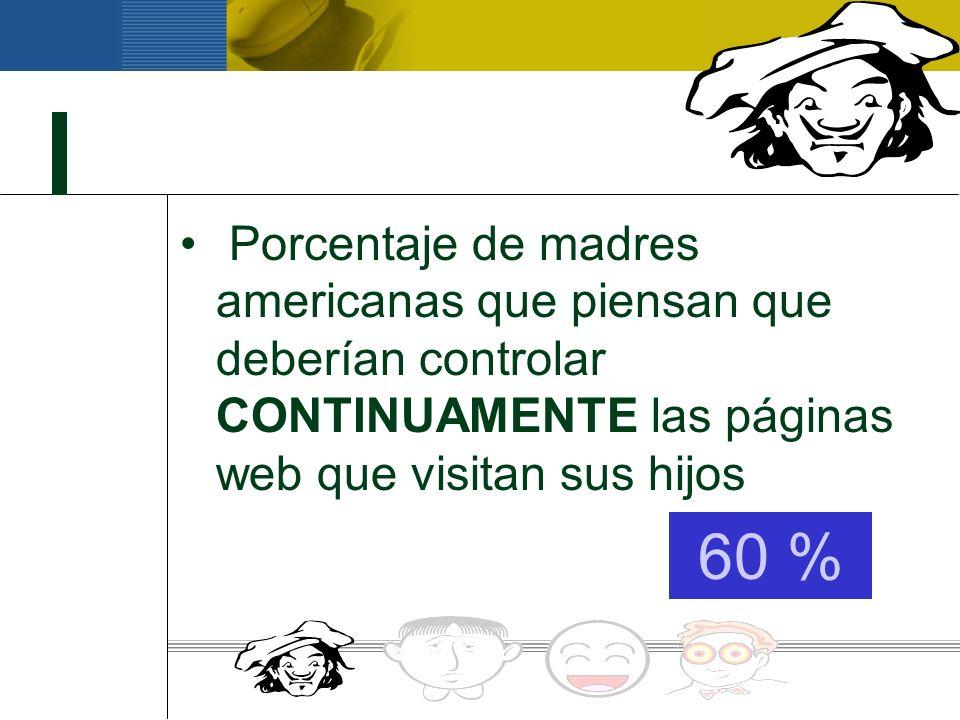 Porcentaje de padres americanos que piensan que deberían filtrarse las páginas web que visitan sus hijos 82 %