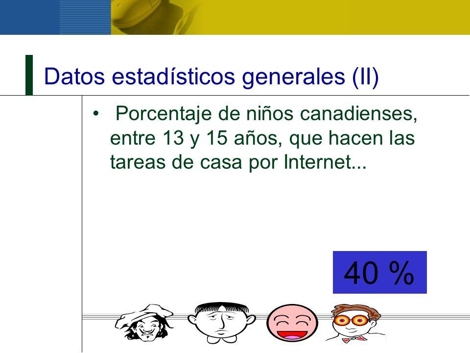 Datos estadísticos generales (III) Porcentaje de niños escolarizados en EEUU que usan Internet...