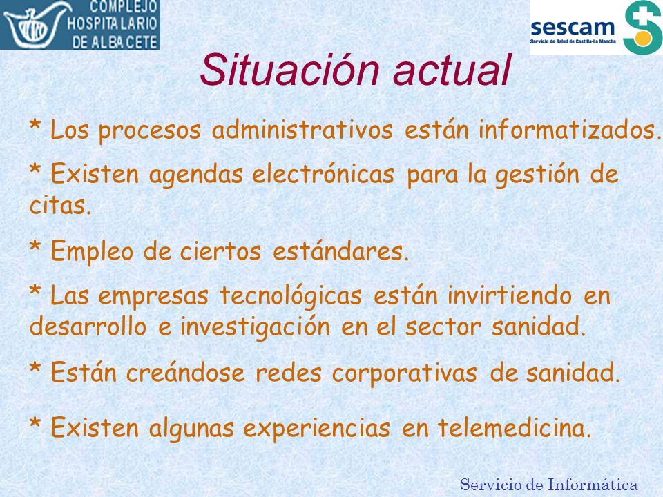 Servicio de Informática Situación actual * Los procesos administrativos están informatizados. * Existen agendas electrónicas para la gestión de citas.