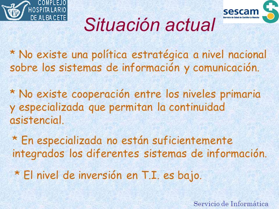 Servicio de Informática Situación actual * No existe una política estratégica a nivel nacional sobre los sistemas de información y comunicación. * No