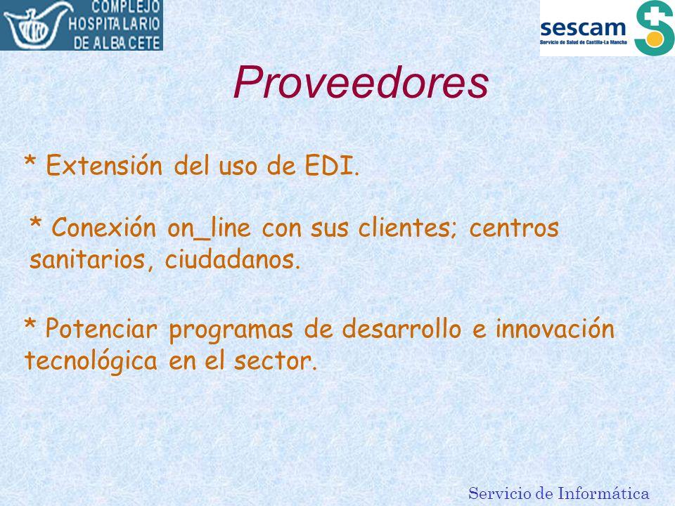 Servicio de Informática Proveedores * Extensión del uso de EDI. * Conexión on_line con sus clientes; centros sanitarios, ciudadanos. * Potenciar progr