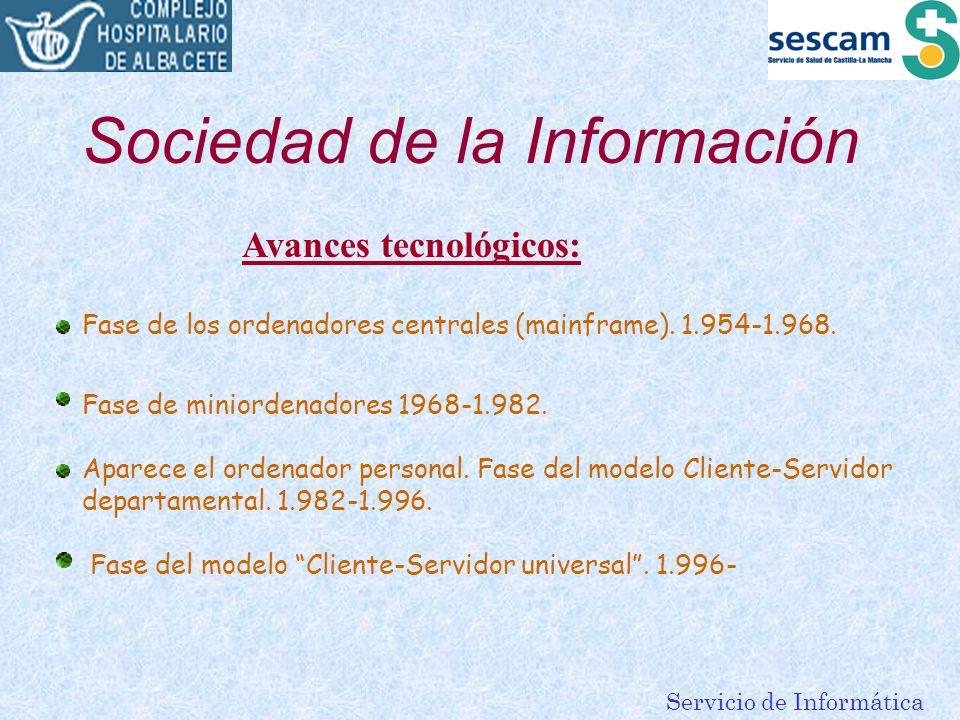 Servicio de Informática Sociedad de la Información Avances tecnológicos: Fase de los ordenadores centrales (mainframe). 1.954-1.968. Fase de miniorden