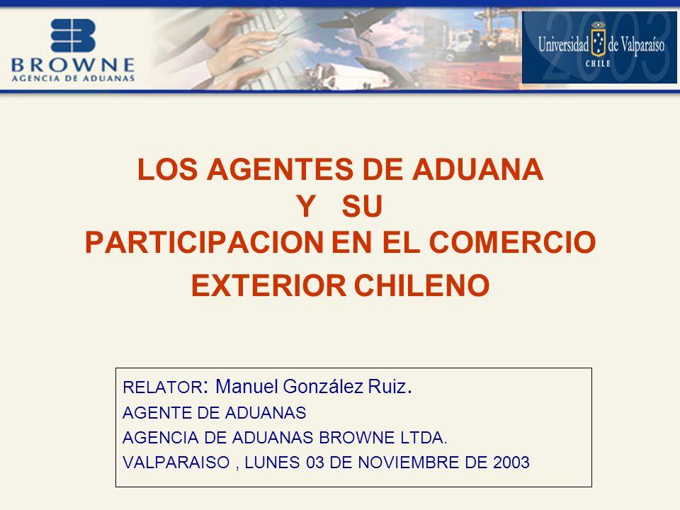 LOS AGENTES DE ADUANA Y SU PARTICIPACION EN EL COMERCIO EXTERIOR CHILENO RELATOR : Manuel González Ruiz.