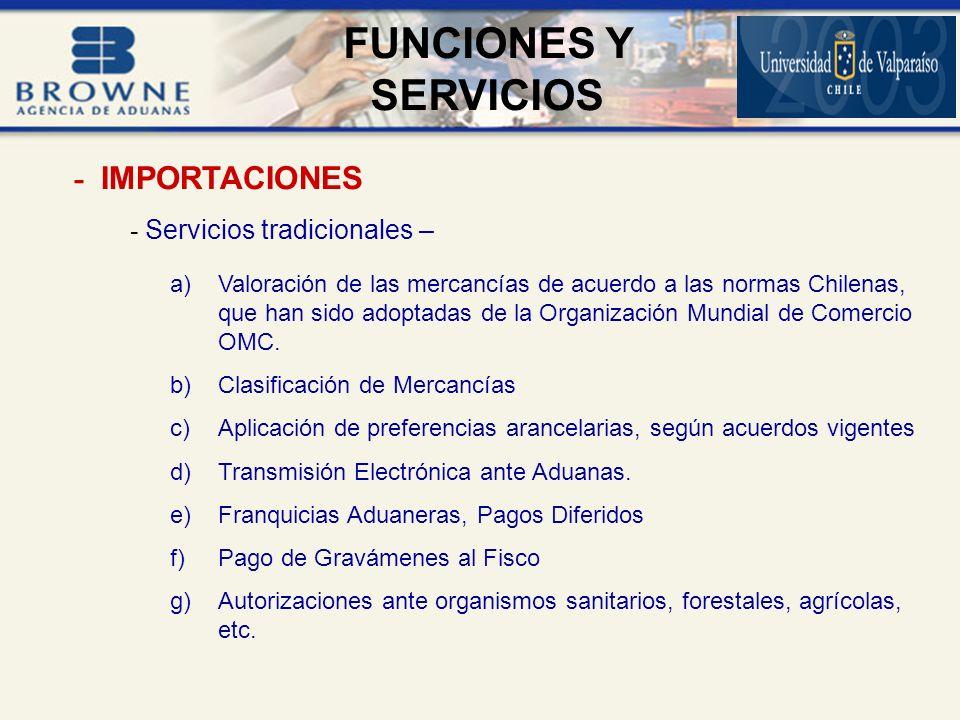 - Servicios tradicionales – a)Valoración de las mercancías de acuerdo a las normas Chilenas, que han sido adoptadas de la Organización Mundial de Comercio OMC.