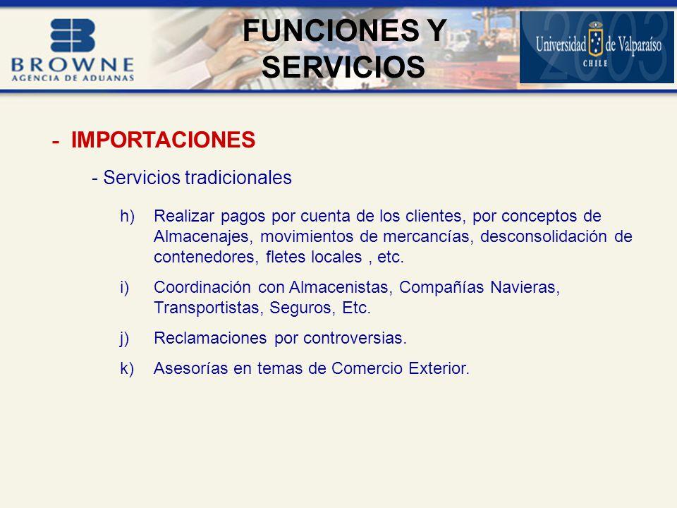 - Servicios tradicionales h)Realizar pagos por cuenta de los clientes, por conceptos de Almacenajes, movimientos de mercancías, desconsolidación de contenedores, fletes locales, etc.