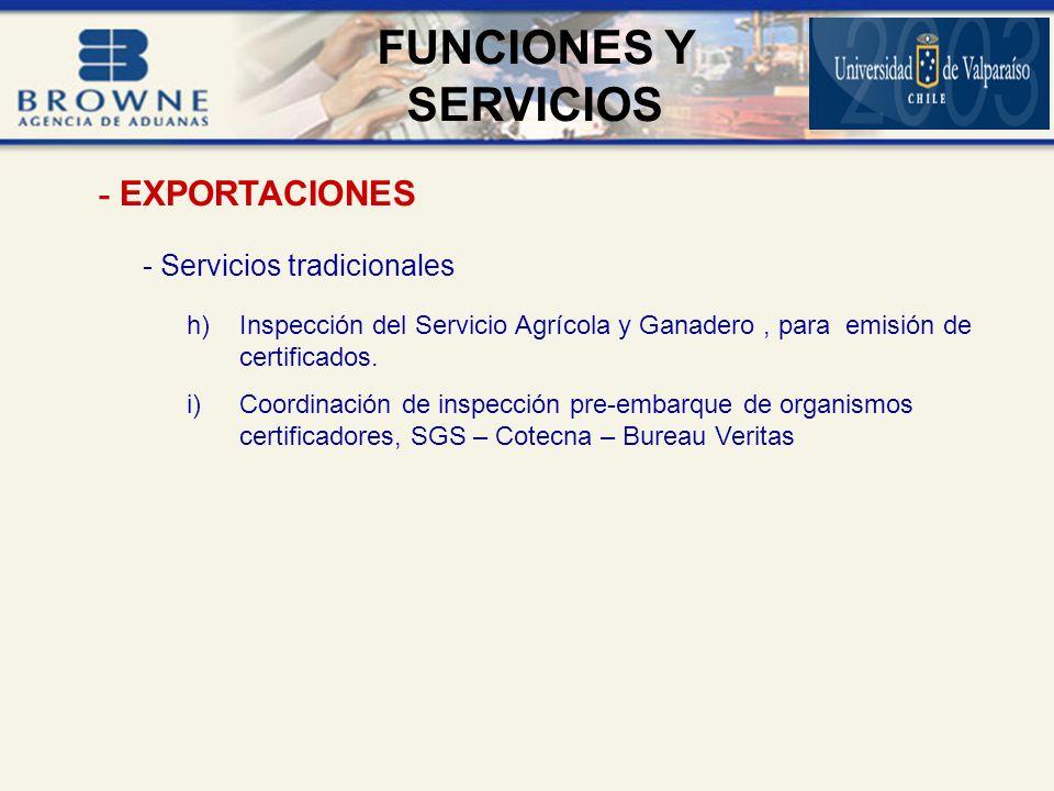 - Servicios tradicionales h)Inspección del Servicio Agrícola y Ganadero, para emisión de certificados.