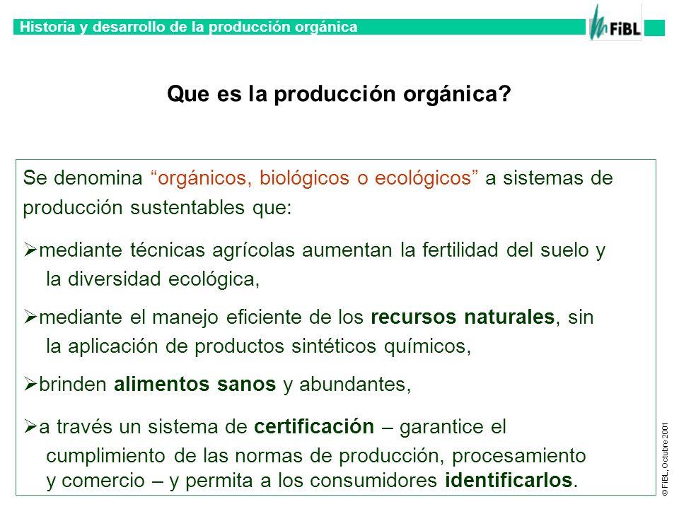 Historia y desarrollo de la producción orgánica © FiBL, Octubre 2001 Que es la producción orgánica? Se denomina orgánicos, biológicos o ecológicos a s