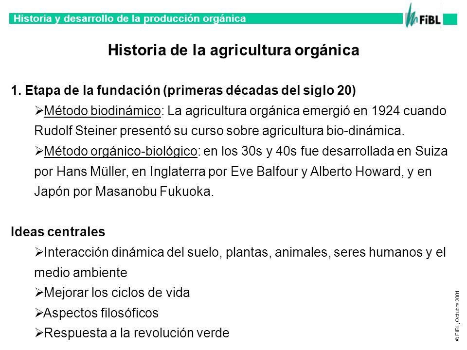 Historia y desarrollo de la producción orgánica © FiBL, Octubre 2001 2.