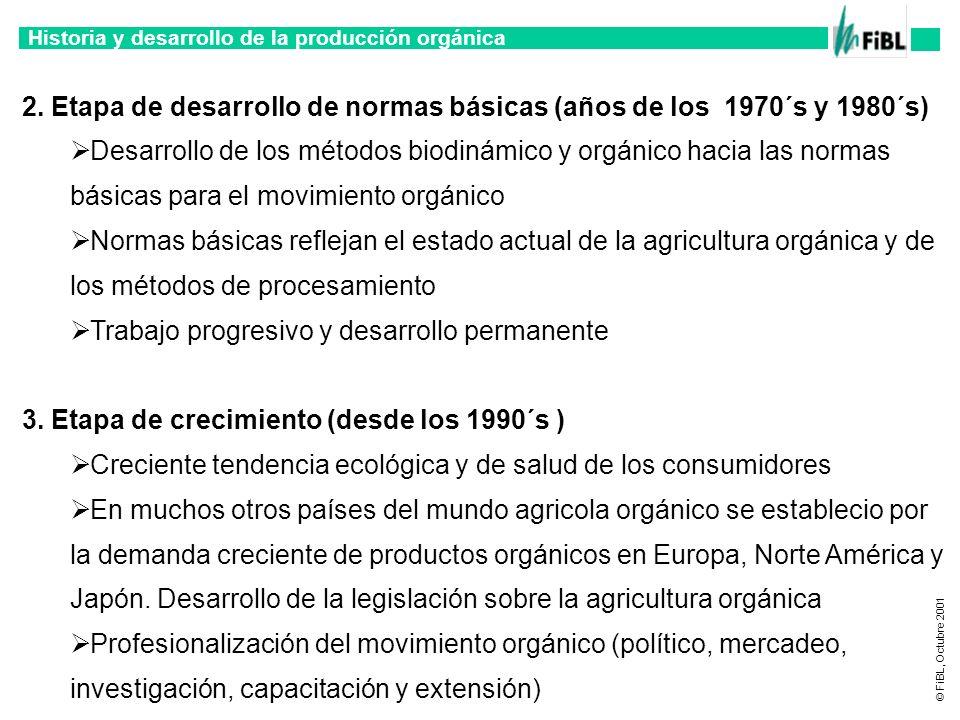 Historia y desarrollo de la producción orgánica © FiBL, Octubre 2001 2. Etapa de desarrollo de normas básicas (años de los 1970´s y 1980´s) Desarrollo