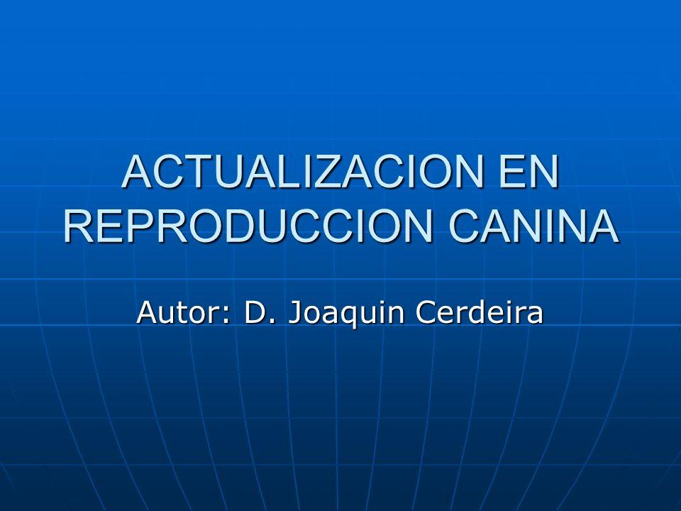 ACTUALIZACION EN REPRODUCCION CANINA Autor: D. Joaquin Cerdeira