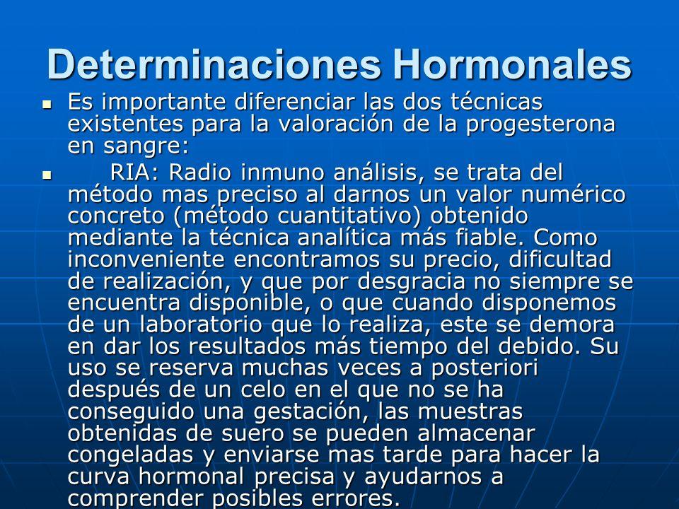 Determinaciones Hormonales Es importante diferenciar las dos técnicas existentes para la valoración de la progesterona en sangre: Es importante diferenciar las dos técnicas existentes para la valoración de la progesterona en sangre: RIA: Radio inmuno análisis, se trata del método mas preciso al darnos un valor numérico concreto (método cuantitativo) obtenido mediante la técnica analítica más fiable.