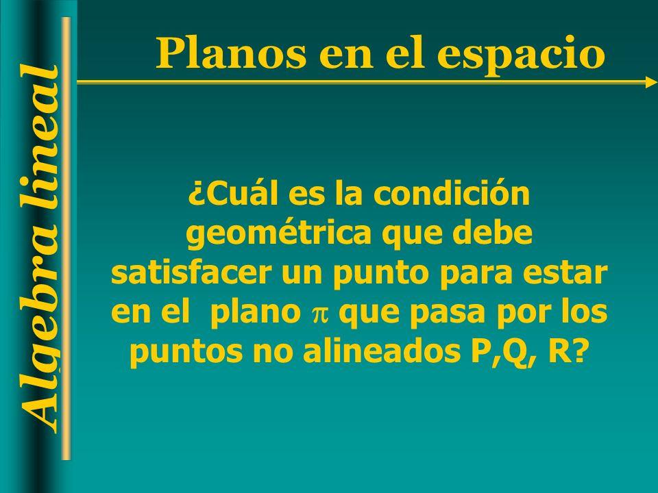 Algebra lineal Planos en el espacio ¿Cuál es la condición geométrica que debe satisfacer un punto para estar en el plano que pasa por los puntos no alineados P,Q, R?