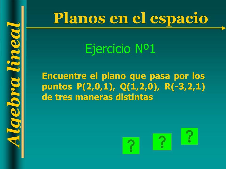 Algebra lineal Planos en el espacio Ejercicio Nº1 Encuentre el plano que pasa por los puntos P(2,0,1), Q(1,2,0), R(-3,2,1) de tres maneras distintas