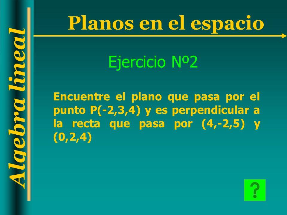 Algebra lineal Planos en el espacio Ejercicio Nº2 Encuentre el plano que pasa por el punto P(-2,3,4) y es perpendicular a la recta que pasa por (4,-2,