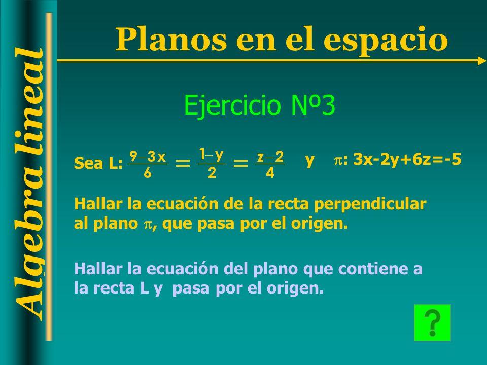 Algebra lineal Planos en el espacio Ejercicio Nº3 Sea L: y : 3x-2y+6z=-5 Hallar la ecuación de la recta perpendicular al plano, que pasa por el origen