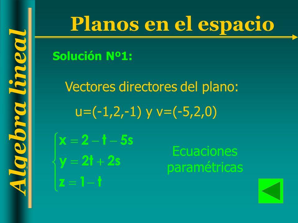 Algebra lineal Planos en el espacio u=(-1,2,-1) y v=(-5,2,0) Ecuaciones paramétricas Vectores directores del plano: Solución Nº1: